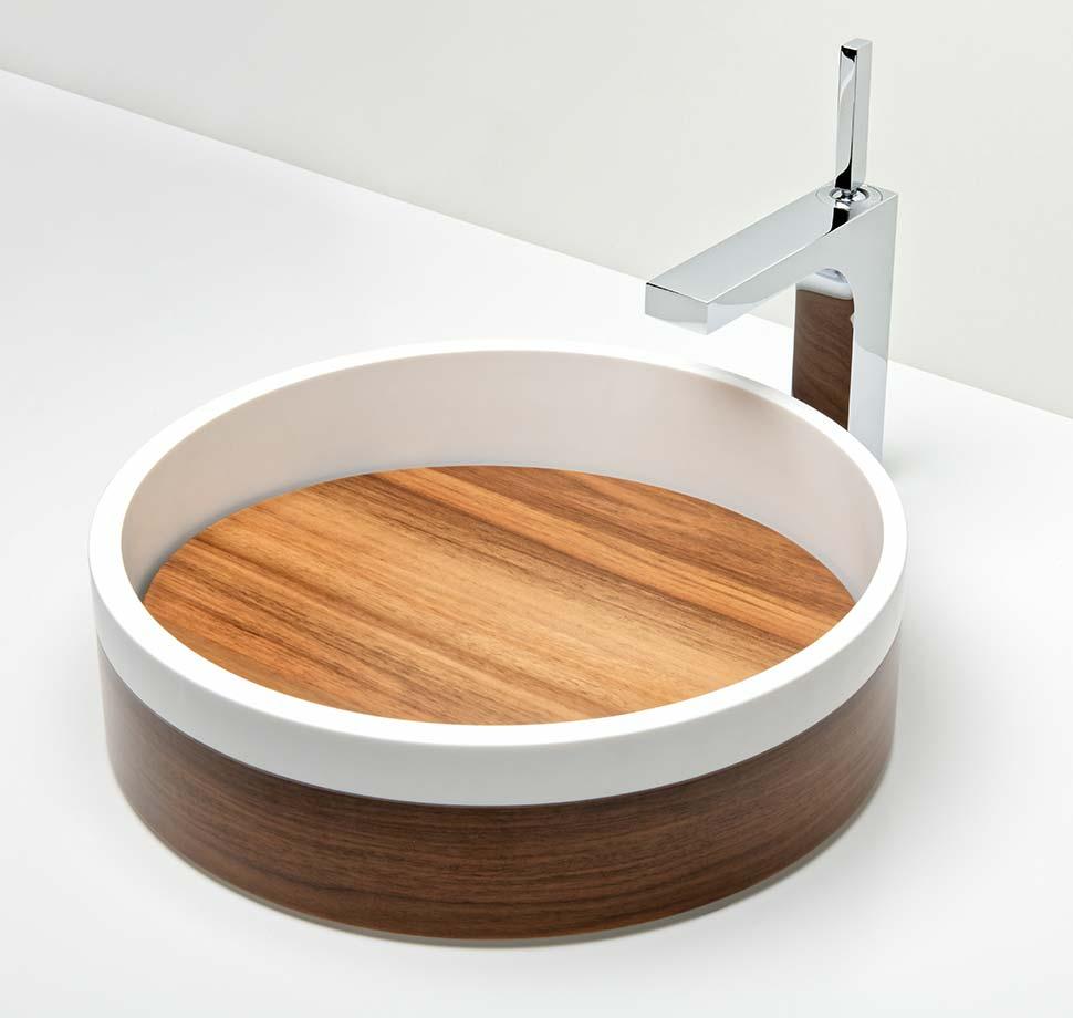 Vasque Ring placage noyer et fond amovible noyer